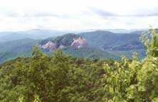 Looking Glass Rock from high above on the Blue Ridge Parkway