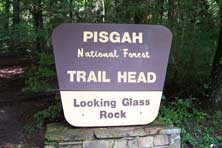 The trail head to Looking Glass Rock off of Hwy 276 near Brevard and the Blued Ridge Parkway